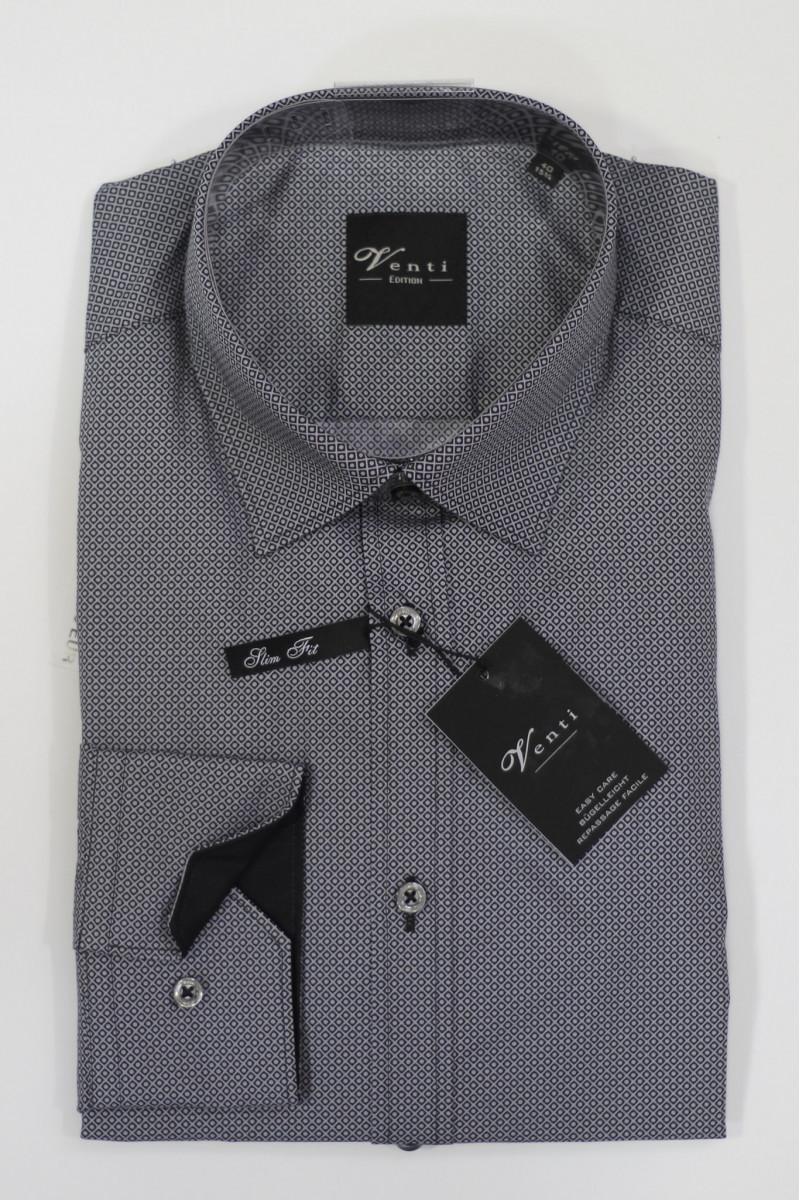 Серая рубашка в черные узоры Venti
