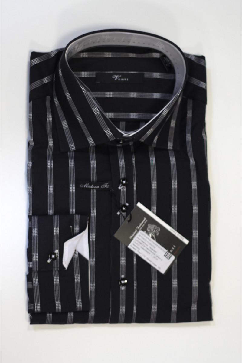 Черная рубашка в белую полоску Venti