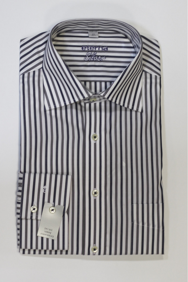 Белая рубашка в разноцветную полоску Eterna