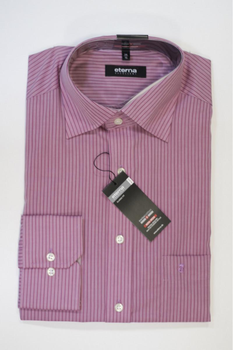 Розовая рубашка в темную полоску Eterna