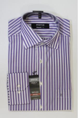 Белая рубашка в фиолетовую полоску и длинными рукавами Eterna