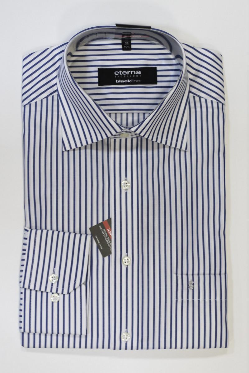 Белая рубашка в синюю полоску Eterna
