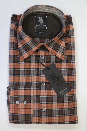 Оранжево-коричневая рубашка Rich Friday в маленькую клетку и с длинными рукавами