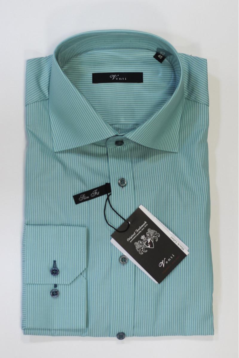 Бирюзовая рубашка в полоску Venti