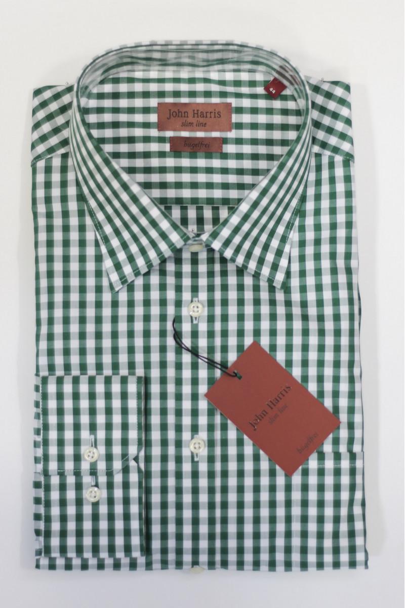 Рубашка в темно-зеленую клетку John Harris