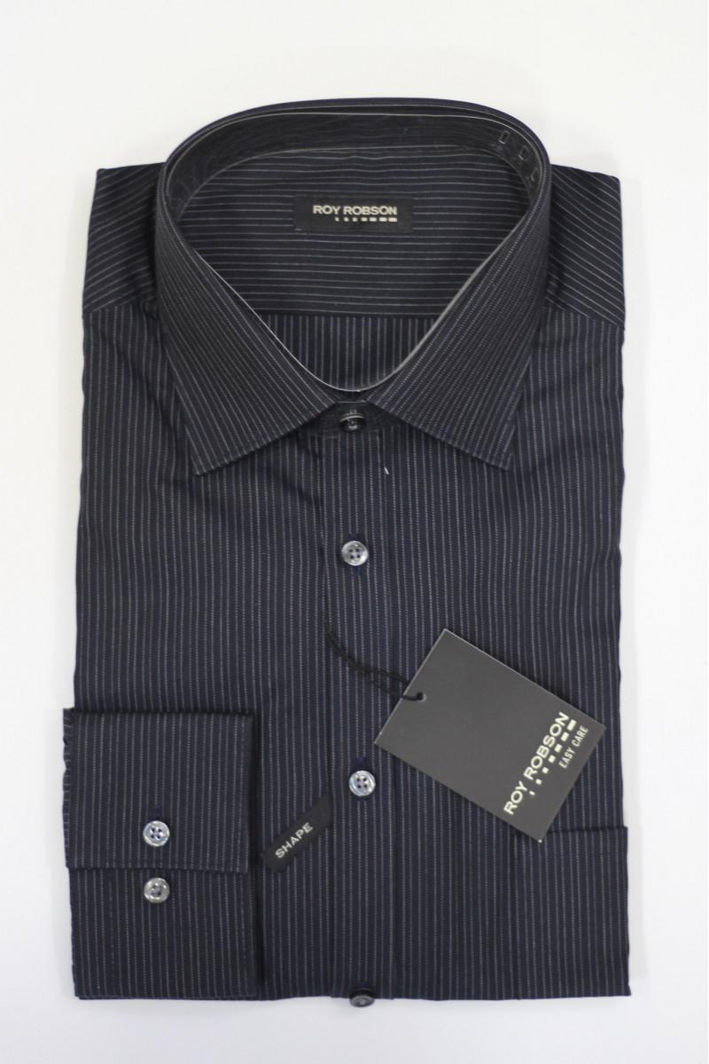Темная рубашка в белую полоску Roy Robson