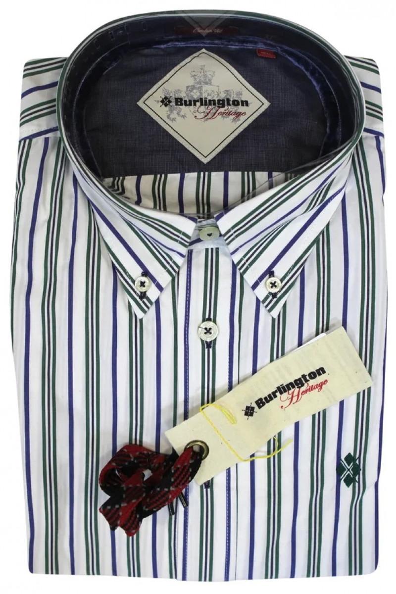 Белая рубашка в зелено-фиолетовую полоску Burlington