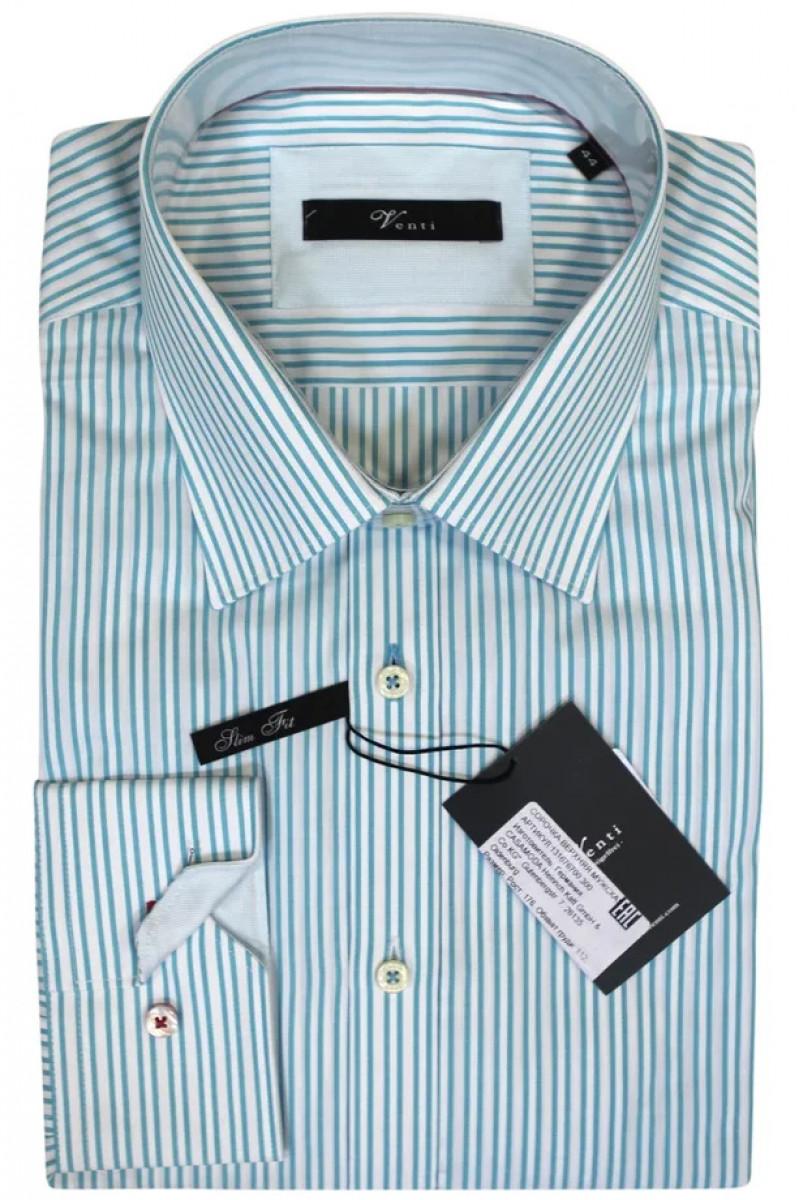 Белая рубашка в зеленую полоску Venti
