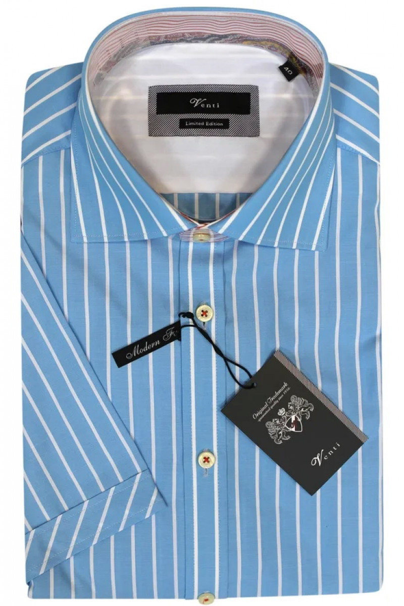 Голубая рубашка с короткими рукавами в белую полоску Venti