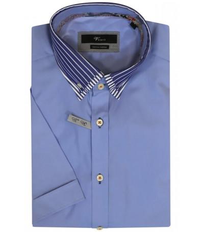 Голубая рубашка Venti с короткими рукавами и воротником на пуговицах