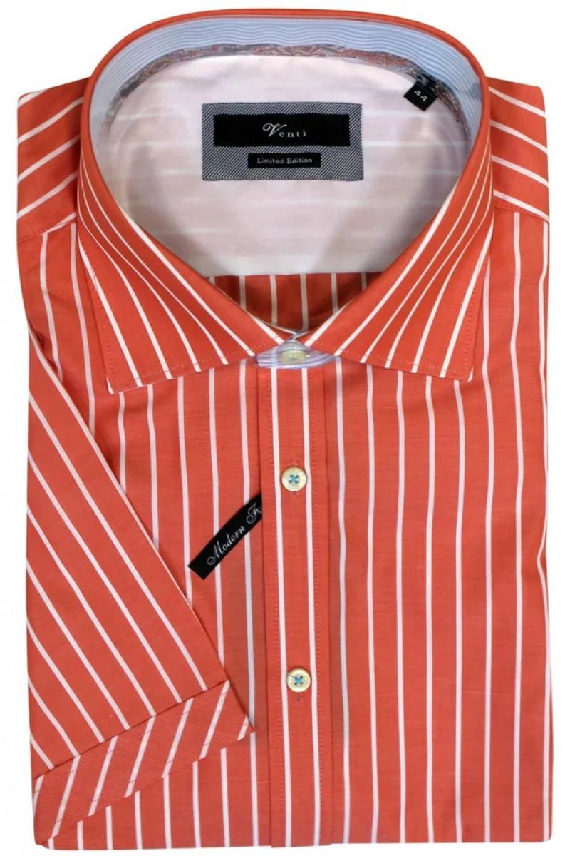 Красная рубашка c короткими рукавами и в белую полоску Venti