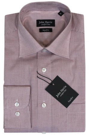 Розовая рубашка в мелкую клетку John Harris
