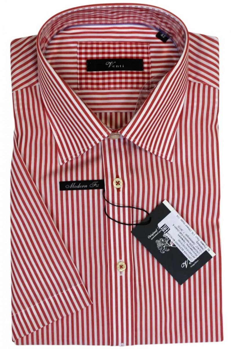 Рубашка в красно-белую полоску Venti и с короткими рукавами