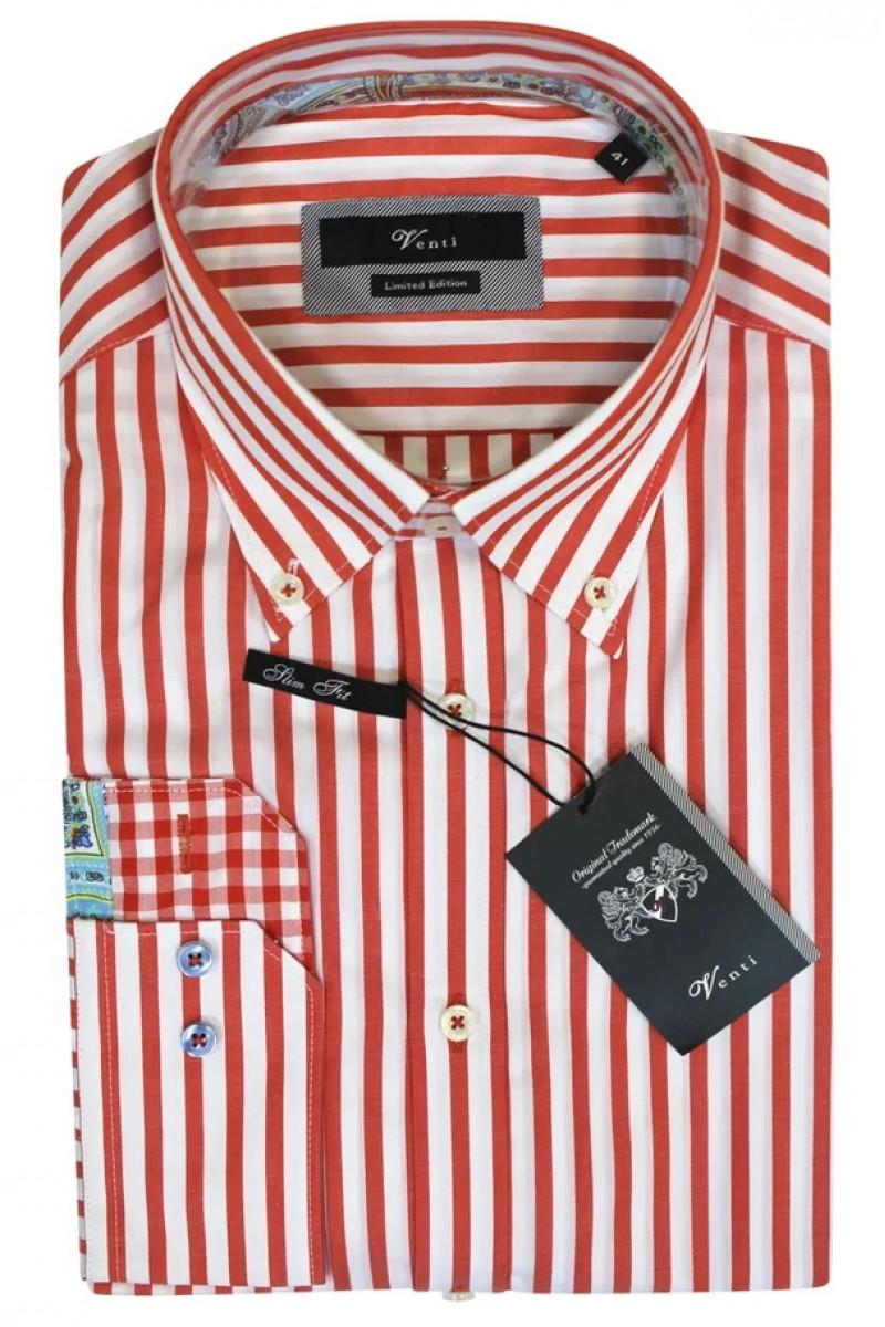 Рубашка в красно-белую полоску Venti с длинными рукавами и воротником на пуговицах
