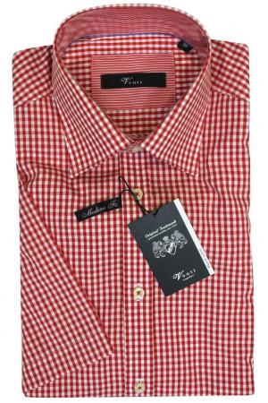 Рубашка в мелкую красно-белую клетку и короткими рукавами Venti