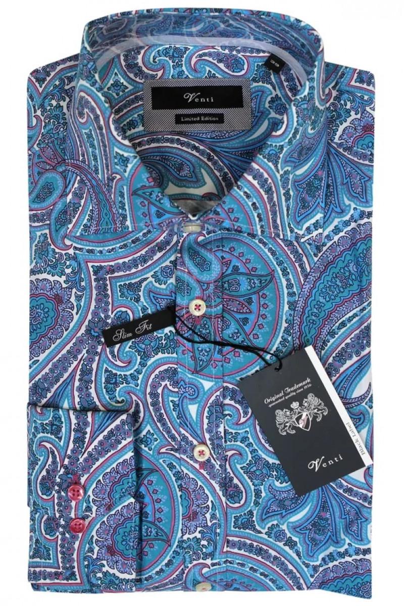 Светло-синяя рубашка Venti с дллинными рукавами